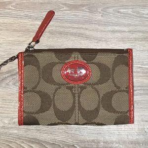 Coach signature logo keychain wallet change purse